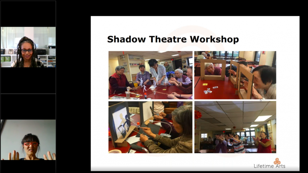 A screenshot of a webinar featuring two speakers and a slide depicting several images from a creative aging workshop.